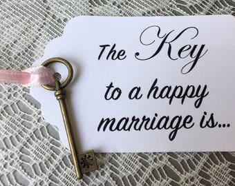 Key Wishing Tags, Key to a happy marriage tags, marriage advice tags, wedding wishing, bridal shower tags, key Tags- 6/order