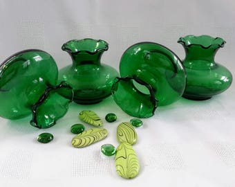 Anchor Hocking Forest Green Glass Vases, Set of Four (4)
