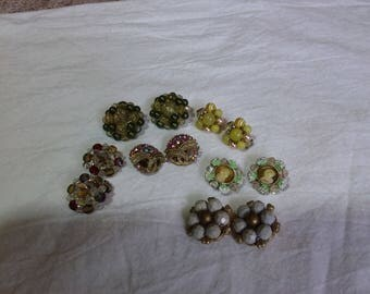 Set of six vintage cluster, rhinestone and Crystal clip on earrings.  Estate found costume jewelry