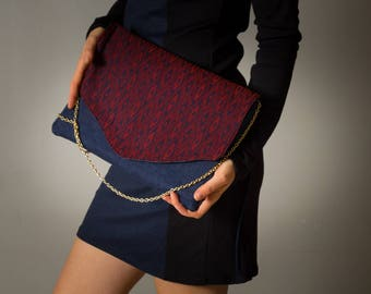 "Clutch bag ""Anna"" for women, printed red burgundy jacquard and raw denim. gold chain"