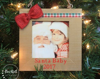 Personalized Christmas Ornament Baby's First Christmas Ornament Santa Baby First Christmas Gift Custom Christmas Ornament Photo Ornament