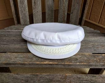 Vintage White Greek Fisherman Cap Yacht Admiral Captain Sea Skipper Nautical Hat Material Cotton and Polyester