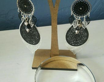black and silver Bangle and earrings