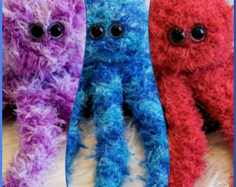 Octopus plush toy knitted - soft, furry, fuzzy