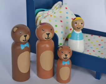 Goldilocks and The Three Bears Peg Dolls / Goldilocks peg dolls / storybook peg dolls