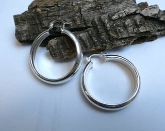 Silver Medium  Polished Hoop Earrings,  Silver Hoop Stud Earrings, Elegant Shiny Hoop Earrings,  Fine silver earrings, Gift for Her