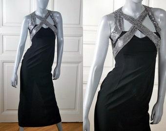 Vintage Disco Dress, Black Evening Dress w Silver Sequin Crisscross Straps: Size 4 (US), 8 (UK)