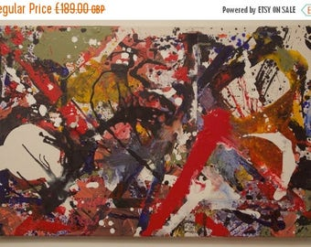 "40% OFF SALE!... PAINTING #1: Abstract Acrylic Painting. Abstract Expressionism. 30""x20"" (76x50cm) Original Handmade Item."