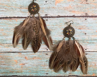 Natural feather earrings, Pheasant feather, Long earrings, Dangle earrings, Brown feather earrings, Handmade jewelry, Real feather jewelry