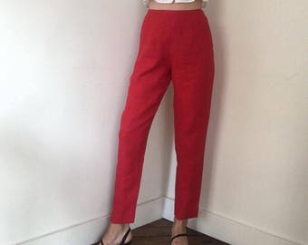 Vintage Red Linen Pants