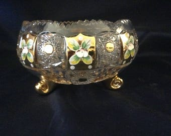 Czech bohemia cut crystal glass - Cut bowl 21cm decorated  gold