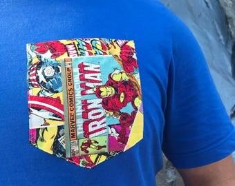 Marvel Comic Pocket T-Shirt, Avengers, X-Men, Iron Man, Hulk, Spider Man, Captain America, Wolverine, Thor