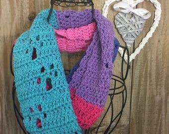 Handmade Crochet Paw Print Infinity Scarf - Pink/Purple/BLue