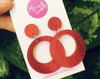 Baby hoops ( red glitter )