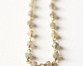 Silver plated 18 k gold and Labradorite chain necklace