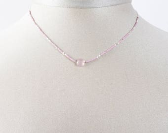 Necklace chain 925 sterling silver and lavender chalcedony