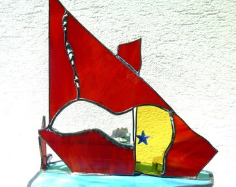 "The fish in the village ""Zoubib"" stained glass Tiffany."
