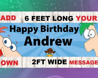 Phineas and Ferb Banner, Phineas and Ferb Birthday Banner, PERSONALIZED,