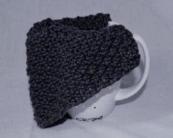 Hand knit Cotton Wash Cloths - Set of 3 - Gray