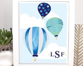 Monogrammed Hot Air Balloon Artwork, Customized Printable Piece, Nursery, Children's Room Decor, Baby Boy Gift, Baby Shower, Blue Wall Art