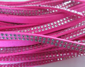 1 m cord suede fuchsia rivet / studs Silver 5 x 2 mm