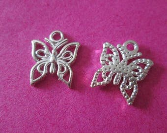 Openwork 10 Butterfly charms and silver 15 x 12 mm