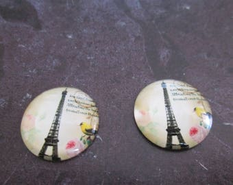 2 cabochons round glass 20 mm Eiffel Tower # 15