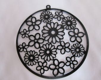 2 55mm filigree flower pattern black prints