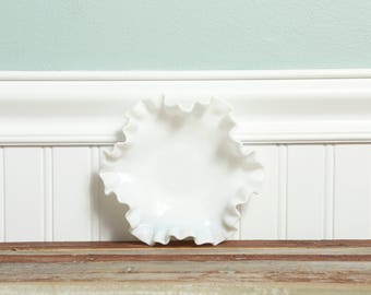 Milk Glass Hobnail Candy Dish-Candle Holder-Fenton Wedding Decor Centerpiece Low Bowl-Shabby Chic Cottage Soap-Jewelry Tray-Pillar Holder