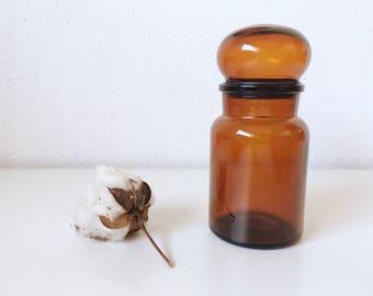 Vintage Mid Century Amber Brown Glass Apothecary Jar + Made in Belgium + Kitchen Bathroom Storage Organization + MCM Decor