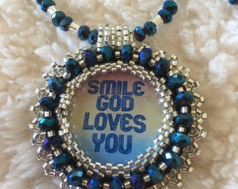 Blue Bead embroidery necklace.  Christian, religious, inspirational.  Smile God loves you.