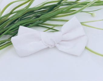 Baby Girl hand tied Bow - Nylon Headbands - Hair clip - Infant / Toddler /  Fabric Hair Bows / Clips - white