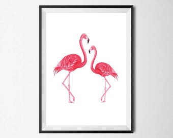 Flamingo Wall Print - Home Decor, Home Print, Flamingo Print