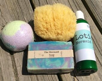 Small Mermaid Gift Set, Mermaid Bath Set, Mermaid Soap, Mermaid Lotion, Mermaid Tub Truffle, Mermaid Bath Bomb, Natural Sponge, Mermaid Gift