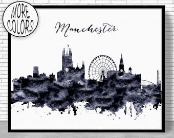 Manchester Print Manchester Skyline Manchester United Kingdom Office Art Watercolor Skyline Watercolor City Print ArtPrintZoneGift for Women