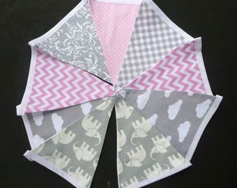 Grey Elephant Fabric Bunting. Girl's Pink And Grey Nursery.  9 Flags. Nursery Bunting. Ready to Post.