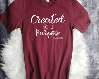 Christian T Shirts - Created with a Purpose - Christian Shirts - Christian Tshirts - Christian Shirts for Women - Christian Shirts Youth