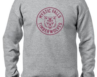 The Vampire Diaries inspired Grey & Maroon Crewneck Sweatshirt - Jumper - Pullover - Mystic Falls Timberwolves