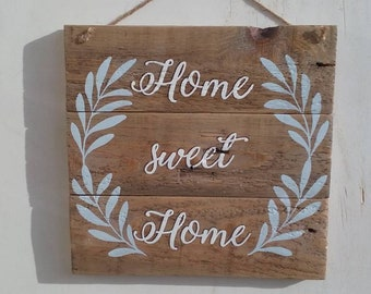 Recycled wooden Plaque Pallet-palletsign-Home Sweet Home