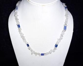 18 Inches Natural Lapis Lazuli & Crystal Moonstone Chip Gemstone Necklace Set