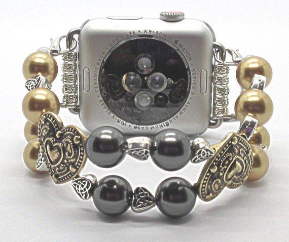 Apple Watch Band, Women Bead Bracelet Watch Band, iWatch Strap, Apple Watch 38mm, 42mm, Gold Metal Hearts Gold/Black Swarovski Pearl Size 7