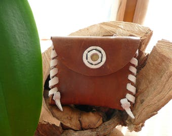 wallet Leather Brown and white medieval off