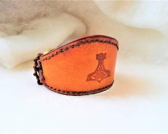 strength 'Thor's hammer' Celtic leather bracelet