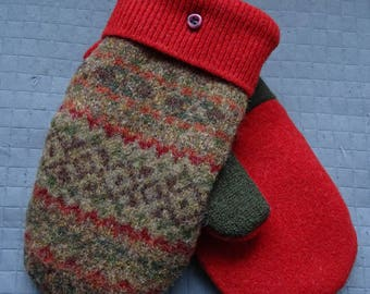 Wool mittens from recycled felted sweaters and lined with thick fleece green orange womens warm soft ecofriendly well made