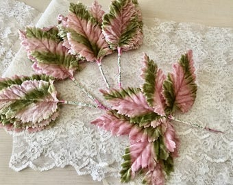 Vintage Millinery Leaves - Pink and Green Velvet