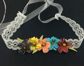Lace and flowers headband