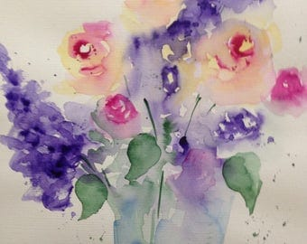 "Watercolor ""Bouquet"" 30 x 40 cm, flowers, paintings, unique, image"