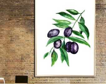 Olives watercolor print Olives Art print Olives leaves Wall decor Botanical watercolor print Olives Leaves poster Olives home decor print
