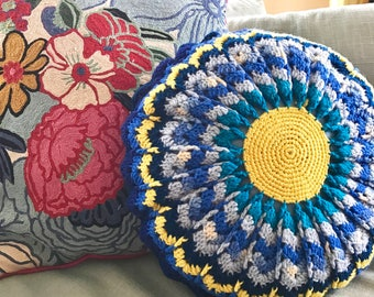 70's Round Blue Crocheted Pillow