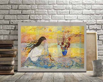 Woman Embroidering over Water Symbolizing Harmony Hand Embodied Nature Wall Art Canvas, MulherBordaÁguas, Handmade Textile Wall Hanging